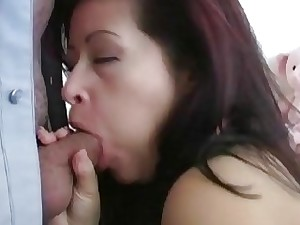 Latina MILF Blowjob Babe Deepthroating Down The Rigid Trouser snake