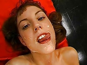 Joyful intake of facial cumshot jizz flows