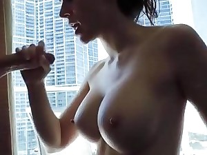 Young brunette amateur with big jugs gargles a hard dick