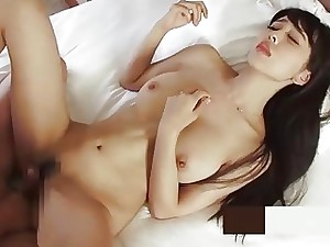 Amazing Japanese babe has her big baps jizzed after fucking