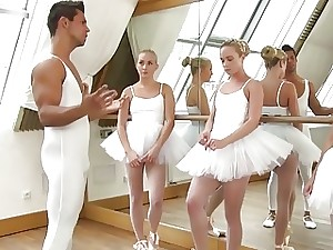 Uniformed ballerinas line up to fellate and get scrupulously fucked