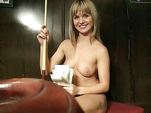 Czech slut fucked in the billiards alley