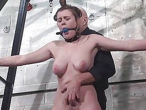 Slave Tayolor Hearts tied and ball-gagged whipping