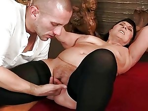Fat grandma in black pantyhose getting pummeled