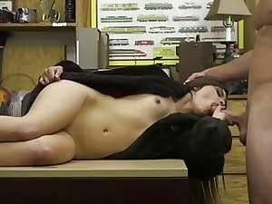 Cute latina fucked by huge hard-on in shop