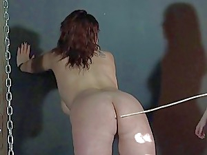 All girl spanking and amateur flagellating of plus-size marionette