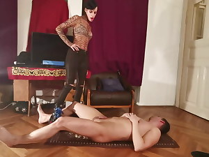 Cock trampling & ball kicking by sexy dominatrix w huge shoes pt1