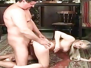 Daddy fucks youthfull virgo intacta above rub-down the sofa