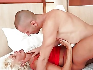 Platinum-blonde granny carnal knowledge on touching will not hear of young lover